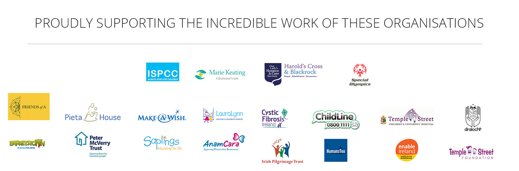 Proudly Supporting These Wonderful Organisations